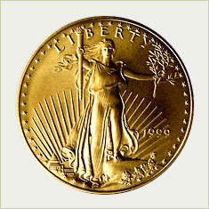 Photo of reverse side of the American Gold Eagle gold bullion coin containing one troy ounce of pure gold, 22K, .9167 fine, weight 1.0909 troy ounces, 32.70 mm diameter, 2.75 mm thickness, face value $50.  This side of the American Eagle gold coin shows a full-length standing Lady Liberty with flowing hair, holding an olive branch in her left hand and a torch in her right hand.  Most gold Eagles are made at the U.S. Mint in West Point, New York. American law requires that the gold in American Eagle gold coins must come from sources in the USA. Same design as  one ounce coin is used in fractional weight coins of half ounce, quarter ounce, and tenth ounce (16.5 mm diameter, 1.19 mm thickness, 0.1091 troy ounce weight).
