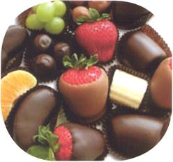 Photo of various types of chocolate and chocolate candy.