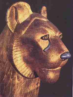 Gold lion from tomb of King Tutankhamon.